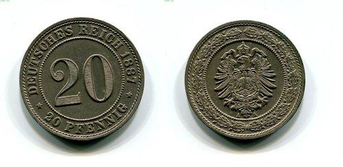 20 Pfennig Kaiserreich 1887 A Erh St Jäger 6 Münzen Shop